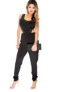 Look sexy in this jumpsuit for a girls night out! Features a round neckline, sleeveless, beaded, detailed cutouts, high polish back zipper closure, followed by a fitted wear. 100% Polyester