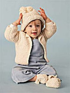 simple garter stitch baby jacket and hat.  Beginner knit. unfortunately (for me) its in inches but I can live with that.
