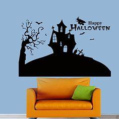 Happy Halloween Flying Bats Castle Wall Vinyl Decal Sticker Wall Decor Home Interior Design Art Mural Z419 WisdomDecalHouse http://www.amazon.com/dp/B00NM3UZ48/ref=cm_sw_r_pi_dp_kG.fub0FZ1HHT