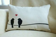 Love Birds Pillow - apparently my future house will be full of bird decor Sewing Pillows, Diy Pillows, Decorative Pillows, Cushions, Throw Pillows, Cushion Covers, Pillow Covers, Bird Pillow, Flower Pillow