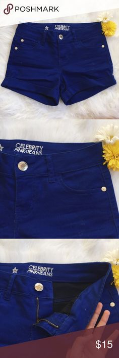 Celebrity Pink Royal Blue Cuffed Shorts ▪️Product Description▪️ ▫️Comfy royal blue shorts- an amazing pop of color paired well with a neutral top  ▫️Cotton, polyester, and spandex so they're soft and stretchy  ▫️Macy's purchase   ▪️Fit: True to size, 0/2 would be perfect in these shorties, cuffs cannot be rolled down  ▪️Condition: Perfect- tags removed, never worn ▪️Measurements: Approx/Laying Flat  ▫️Length- 12.5 inches  ▫️Waist- 13 inches  ▫️Cuff- 1.25 inches Celebrity Pink Shorts Jean…