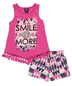 Dollhouse Girls' 'Smile More' Tank Top and Shorts Set, 2 Piece Outfit, Size 2T, Fuchsia. 2 FOR THE PRICE OF 1 - Two Piece Girls Clothing Set; Includes one tank top and one pair of shorts. SUPER STYLISH - Jersey Style girls tank top with cute glitter graphics and tassel trim. PREMIUM MATERIALS - Printed Silky polyester girls shorts with comfortable elastic waistband. TURN HEADS - Colorful and fun designs are sure to get compliments at school. Easy Care; Machine Wash cold, inside out.
