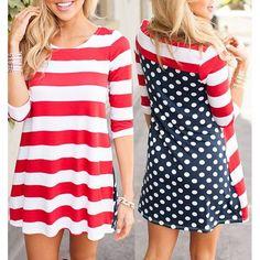 Casual Half sleeve Polka Dot striped Dress  >>Buy Here: http://fshion.me/FsqmAf