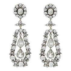 Victorian antique diamond drop earrings set in silver on gold ❤ liked on Polyvore featuring jewelry, earrings, antique earrings, diamond earrings, silver earrings, silver drop earrings and yellow gold earrings