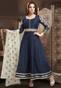 Embroidered Sleeve Chanderi Cotton Anarkali Suit in Blue