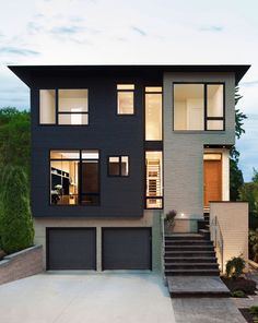 Inspiring Modern House Design with Two Story and Modular Concept with  Three Story IDea Plus Garage Door with Grey Color Bespoke Garage Door Design with Concrete Carport. Garage Door Facade Ideas