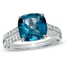 9.0mm London Blue Topaz and Lab-Created White Sapphire Ring in Sterling Silver - Size 7 - Zales $ 192