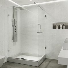 null Step into sleekness with this frameless glass shower door enclosure and base. Swing open the hinged door and see clearly the possibilities. Safe, durable, and shard-resistant, the tempered glass is ANSI Z97.1 and 16 CFR 1201-certified. It is pre-drilled for the curved door handle installation and includes a reversible towel bar. Versatile and adjustable, this enclosure comes with glass supports that have built-in horizontal adjustability for a frustration-free installation that can accommod Corner Shower Enclosures, Frameless Shower Enclosures, Acrylic Shower Base, Shower Units, Glass Shower Doors, Glass Showers, Shower Pan, Clear Glass, Door Handles