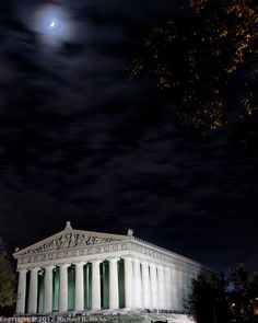 Nashville Centennial Park - Moon over the Parthenon