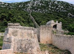 view on Roman remains of defence wall in Ston, Croatia