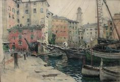 ''Havengezicht Camogli''  Hendrik Jan Wolter (1873-1952) Techniek: Krijt
