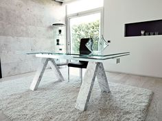 Contemporary extendable glass dining table with marble coated legs Decor, Furniture, Glass Dining Table, Dining, Glass Top Dining Table, Wood Dining Table, Table, Cool Chairs, Luxury Dining Tables