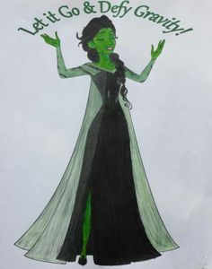 I was listening to the Frozen soundtrack in the car today, and I couldn't get over the parallels between Let it Go and Defying Gravity from Wicked (both sung by the amazing Idina Menzel). I just had to turn Elsa into Elphie. Nothing else would get accomplished today until that happened :)