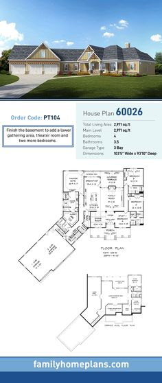 Craftsman House Plan 60026   Total Living Area: 2,971 SQ FT, 4 bedrooms and 3.5 bathrooms. Finish the basement to add a lower gathering area, theater room and two more bedrooms. #craftsmanhome
