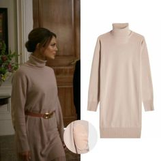 Cristal Flores wears this Maison Margiela elbow-patch wool turtleneck sweater dress on Dynasty 1x15