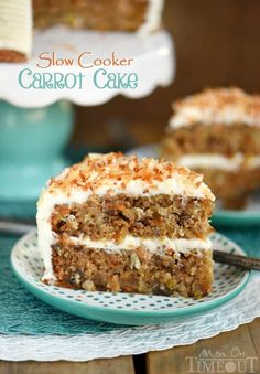 Slow Cooker Carrot Cake with Cream Cheese Frosting is made without oil or butter and loaded with coconut, pineapple and pecans! Moist and delicious!