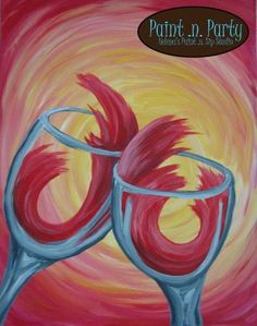 PAINT n Party, Helena MT...  Www.paintnpartyMT.com.  Helena's only Paint n Sip Studio Lucy Davis, Illustrator,  2013 Original scene by A. Cannon WINE GLASSES scene