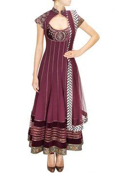 Maroon Color Anarkali Suit – Panache Haute Couture
