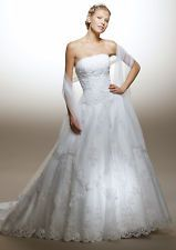 Big A line Long train Lace WEDDING Dress Brial GOWN SIZE 18,20,22,24,26,28
