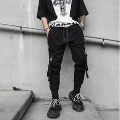 New Men's Slim Fit Urban Straight Leg Trousers Casual Pencil Jogger Grunge Outfits, Edgy Outfits, Pantalon Streetwear, Mode Emo, Black Harem Pants, Pantalon Cargo, Style Grunge, Fashion Pants, Aesthetic Clothes