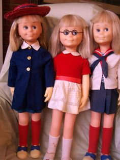 An auction lot of Charmin' Chatty Cathy Dolls.  Charmin' Chatty Cathy: The Educated Doll