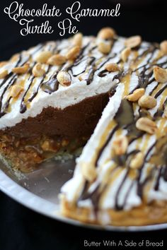 Chocolate Caramel Turtle Pie~ so amazing you'd think it came from a bakery. EASY too! #recipe from Butter With A Side of Bread #chocolate #caramel