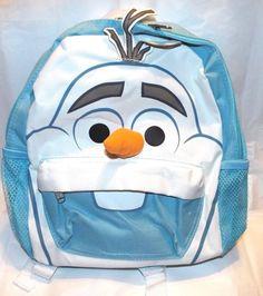 """Disney Frozen OLAF 12"""" Face Toddler School Blue Backpack book bag NWT Elsa Anna #Disney #Backpack"""