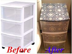 móveis Why Not Do It Yourself - Give Those Plastic Drawers A Facelift! - Give Those Plastic Drawers A Facelift!Why Not Do It Yourself - Give Those Plastic Drawers A Facelift! - Give Those Plastic Drawers A Facelift! Diy Projects To Try, Home Projects, Home Crafts, Fun Crafts, Diy Dorm Decor, Dorm Decorations, Do It Yourself Furniture, Diy Furniture, Plastic Drawers