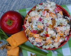 Apple, Cheese, Celery Salad - a southern discourse Celery Salad, Fruit Salad, Apples And Cheese, Cheese Salad, Eat Smart, Red Apple, Cheddar Cheese, Salad Recipes, Healthy Eating