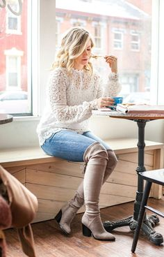 Constellation Coffee- Pittsburgh - Coffee Shop Fashion - Marc Fisher Over the knee boots