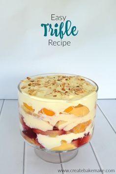 Five Approaches To Economize Transforming Your Kitchen Area Easy Trifle Recipe. This Classic Trifle Recipe Couldn't Be Easier To Put Together It's Perfect For Any Occasion And It Also Feeds A Crowd. Easy No Bake Desserts, Köstliche Desserts, Delicious Desserts, Dessert Recipes, Chef Recipes, Plated Desserts, Recipies, Healthy Desserts, Cooking Recipes