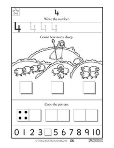 Free printable Kindergarten Worksheets, word lists and activities. Kindergarten Age, Preschool Math, Kindergarten Worksheets, Teaching Math, Maths, Printable Preschool Worksheets, Printables, Writing Numbers, Autism Resources