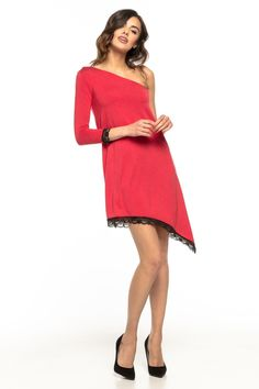 42ee552c75 Dzianinowa Sukienka na Jedno Ramię Czerwona TE269