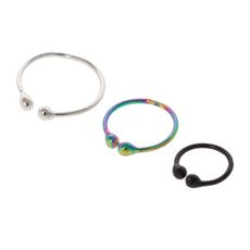 Graduated Black, Rainbow Metallic and Silver Faux Nose Hoop Rings Set of 3