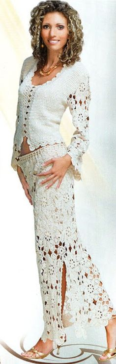 """Crochet Skirts I could do without the gold shoes, but I think this """"White Suit"""" is really pretty! Crochet Skirts, Black Crochet Dress, Crochet Tunic, Irish Crochet, Crochet Clothes, Crochet Lace, Knit Dress, Dress Up, Crochet Pattern"""