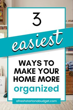 having a clean home doesn't have to be hard work or take a lot of time. Here are the 3 easiest ways to make your home more organized I've found. Declutter Your Home, Organize Your Life, Organizing Your Home, Organizing Tips, Home Organisation, Book Organization, Getting Rid Of Clutter, Getting Organized, Bathroom Storage Solutions