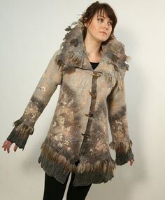 Hand felted wool coat jacket SAKURA by ChicComplement on Etsy