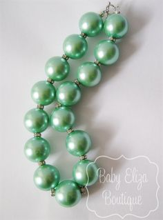 Tiffany blue pearl necklace aqua chunky beaded rhinestone