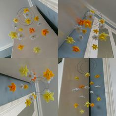 Handmade felt floral mobile (or suncatcher!) Featuring white daisies and yellow and orange daffodils. Very boho / hippy chic!  Available at www.anniemadeit.com