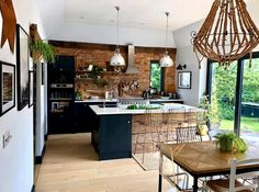 dark kitchen with exposed brick wall of Sharon hornsby_style Home Decor Kitchen, Kitchen Living, New Kitchen, Home Kitchens, Kitchen Modern, Kitchen Rustic, Dark Kitchens, Reclaimed Wood Kitchen, Country Kitchen