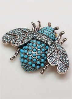 20th century turquoise bee brooch