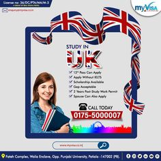 """UK WELCOMES THE ASPIRING CANDIDATES FOR SEP. 2020 & JAN 2021 INTAKE  📌12 PASS CAN APPLY 📌WITHOUT IELTS 📌GAP ACCEPTED 📌SCHOLARSHIPS AVAILABLE 📌SPOUSE CAN ALSO APPLY 📌2 YEARS POST-STUDY WORK PERMIT  ✅ What are you waiting for ? 👉APPLY TODAY WITH """"myVisa""""  👉For more details ☎️0175 5000007 📩 enquiry@myvisa.co.in Scholarships In Uk, Patiala, Pta, Ielts, Waiting, Study, How To Apply, Letters, Studio"""