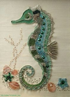 I ❤ embroidery . Seahorse embroidery~ A kit by rajmahal, I couldn't resist this seahorse embroidery. it just called to me it was so sparkly & wonderful! Took me about 3 weeks to do & was my first embroidery piece ever! ~By StitchingDreams Ribbon Embroidery, Beaded Embroidery, Cross Stitch Embroidery, Embroidery Patterns, Machine Embroidery, Bead Embroidery Jewelry, Stitch Patterns, Fabric Art, Needlework