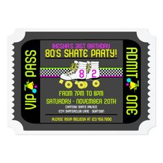 Roller Skate Birthday Invitations 80s Rollerskate Ticket Style Party Invitations