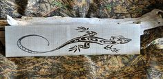 Handcrafted Rustic Primitive Woodburned Sign Lizard Decor