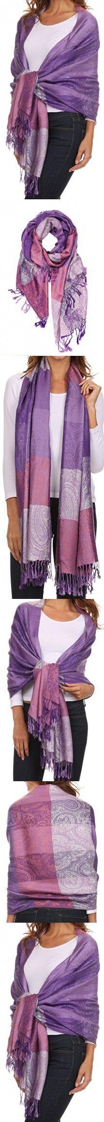 Sakkas CHS1611 - Avril colorful allover Paisley Pashmina/ Shawl/ Wrap/ Stole - 2-Purple - OS