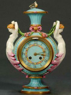 Wedgwood Majolica Mermaid Clock/Vase, England, c. 1872, modeled by Hugues Protat,