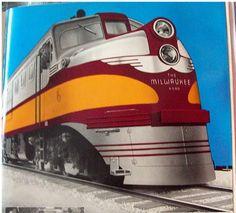 Colorized black & white photo of a Milwaukee Road ALCo DL109 passenger locomotive.