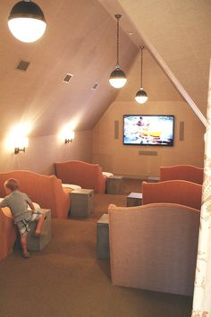 Super cute! chic theatre room - for over the garage attic space love the little tables
