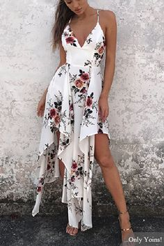 Sexy Random Floral Print Irregular Hem Backless Dress